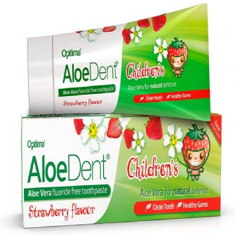 Aloe Dent Childrens Strawberry Toothpaste - Fluoride Free 50ml