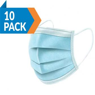 Face Masks 3 ply 10 pack blue